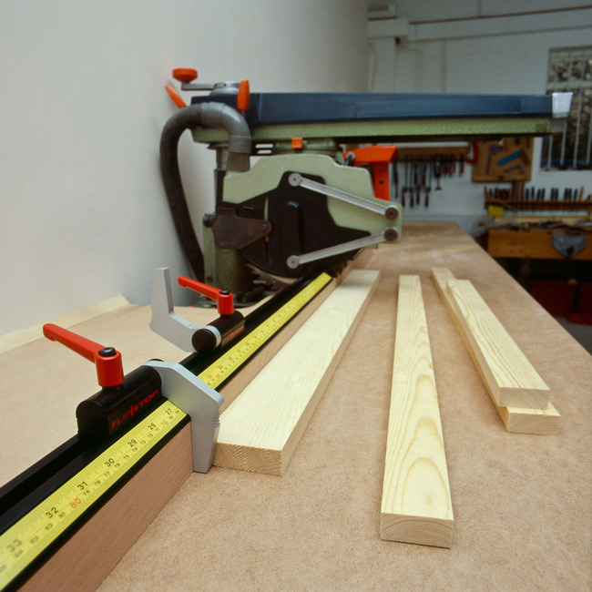 Flipstop attached to a sliding table saw