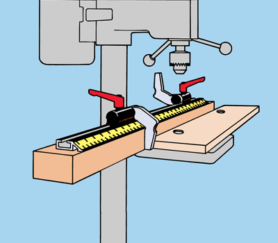 Flipstop attached to a drill press