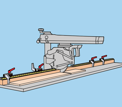Flipstop attached to a radial arm saw